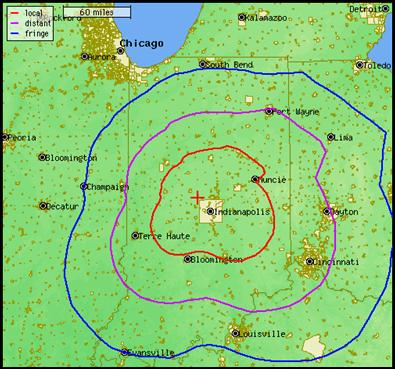 1070 Coverage Map  Daytime Signal  Radio Indiana